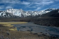 Landscape in  the Andes,Mendoza,Argentina. River in the Andes near las lenas,Mendoza,Argentina Royalty Free Stock Photos