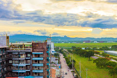 Landscape of Angeles city. During sunset in the Philippines Stock Photography