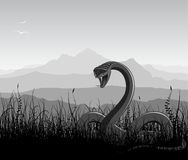 Landscape with angry snake Royalty Free Stock Photography