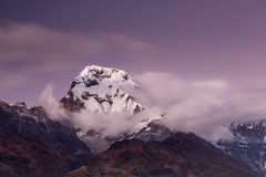 Landscape with Annapurna South peak view from Tadapani during trekking in Himalaya Mountains, Nepal royalty free stock images