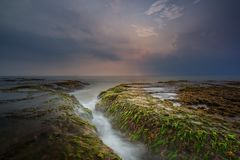 Landscape at anyer beach stock photo