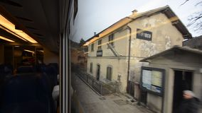 The landscape of the Apennines from train window stock video footage