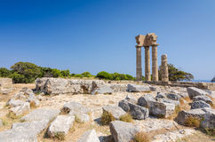Landscape of Apollo ruins on Rhodes Royalty Free Stock Image