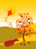 Landscape with apple tree and kite Royalty Free Stock Photos