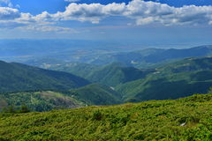 Landscape of the Apuseni mountains from the Curcubăta Mare peak. Apuseni Mountains in Transylvania are a mountain range, part of the Western Carpathians. The Stock Image