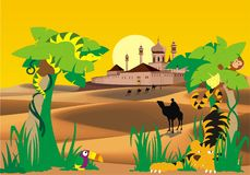 Landscape-fortress in the desert, palm and wild animals Stock Photos