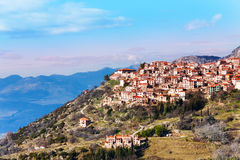 The landscape of Arachova town. The beautiful landscape of Arachova town near Delphi, Greece Royalty Free Stock Photo