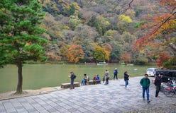 Landscape of Arashiyama in Kyoto, Japan. Kyoto, Japan - Nov 28, 2016. People visit Arashiyama Park in Kyoto, Japan. Arashiyama is a nationally designated Royalty Free Stock Photo