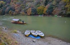 Landscape of Arashiyama in Kyoto, Japan. Kyoto, Japan - Nov 28, 2016. Autumn scenery of Hozu River at Arashiyama in Kyoto, Japan. Arashiyama is a nationally Royalty Free Stock Image