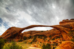 Landscape Arch in Arches National Park, Utah. Against cloudy sky Royalty Free Stock Photo