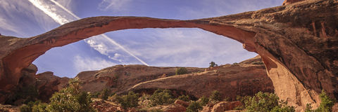 Landscape Arch in Arches National Park, Utah. One of many natural stone arches Stock Photos