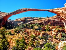 Landscape Arch, Arches National Park, Utah, One of the world& x27;s longest natural spans, Devils Garden. USA Stock Images