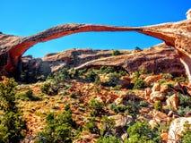 Landscape Arch, Arches National Park, Utah, One of the world& x27;s longest natural spans, Devils Garden Stock Images