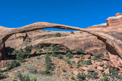 Landscape Arch in Arches National Park, Utah. View of the Landscape Arch in Arches National Park, Utah Royalty Free Stock Images