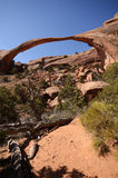 Landscape Arch on a Sunny Day in Arches National Park Stock Image