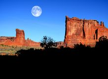 Landscape in Arches National Park with Full Moon Stock Images