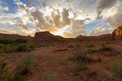 Landscape of Arches National Park at sunset, USA Royalty Free Stock Photography