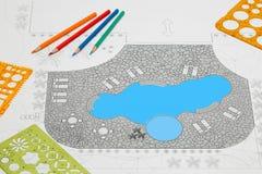 Landscape architect design backyard patio pool plan. Close up Landscape architect design backyard patio pool plan royalty free stock images