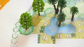 Landscape architect design backyard plan stock footage
