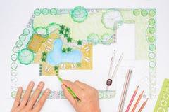Landscape architect design backyard plan. For villa stock images