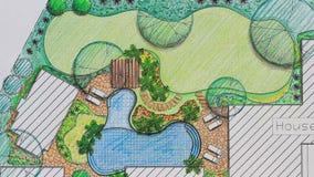 Landscape architect design backyard plan . stock video
