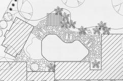 Landscape architect design backyard plan . Landscape architect design backyard plan for villa Royalty Free Stock Photography
