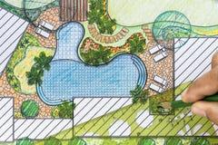 Landscape architect design backyard plan Royalty Free Stock Photography