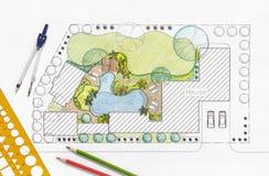 Landscape architect design backyard plan for villa Royalty Free Stock Photography