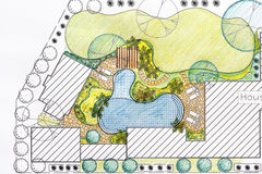 Landscape architect design backyard plan for villa Royalty Free Stock Images