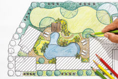 Landscape architect design backyard plan for villa Royalty Free Stock Photo