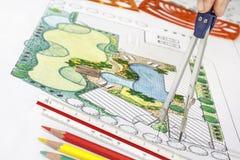 Landscape architect design backyard plan for villa Stock Image