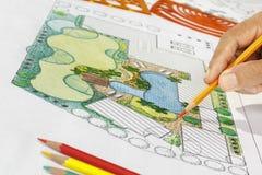 Landscape architect design backyard plan for villa Royalty Free Stock Images