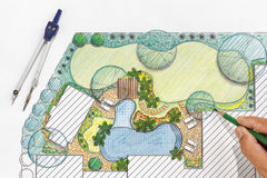 Landscape architect design backyard plan for villa Stock Photos