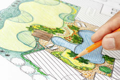 Landscape architect design backyard plan for villa. Landscape architect design backyard garden plan for villa stock photos
