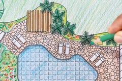 Landscape architect design backyard plan for villa Stock Photo