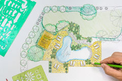 Landscape architect design backyard plan for villa. Project Royalty Free Stock Photos