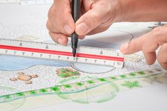 Landscape architect design backyard pool plan. For resort stock photo
