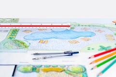 Landscape architect design backyard pool plan. For resort stock image