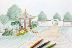 Landscape architect design chinese garden plan Stock Images