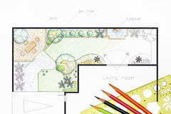 Landscape architect design garden plan Royalty Free Stock Image