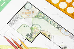 Landscape architect design garden plan. For back yard Stock Photography