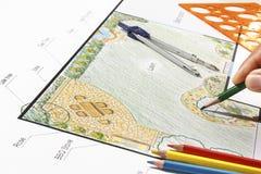 Landscape architect design garden plan Stock Photo