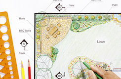 Landscape architect design garden plan Royalty Free Stock Images