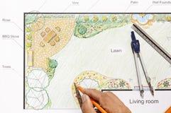 Landscape architect design garden plan. Landscape architect design backyard garden plan Stock Image