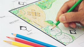 Landscape architect design garden plan stock video