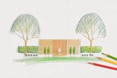 Landscape architect design garden plan Royalty Free Stock Photo