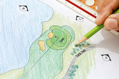 Landscape architect design golf course plan. Royalty Free Stock Images