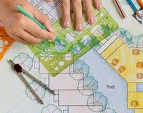 Landscape Architect Design hotel resort plan Stock Images