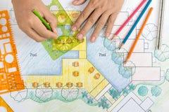 Landscape Architect Design hotel resort plan Royalty Free Stock Images