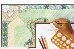 Landscape architect design L shape garden plan Royalty Free Stock Image